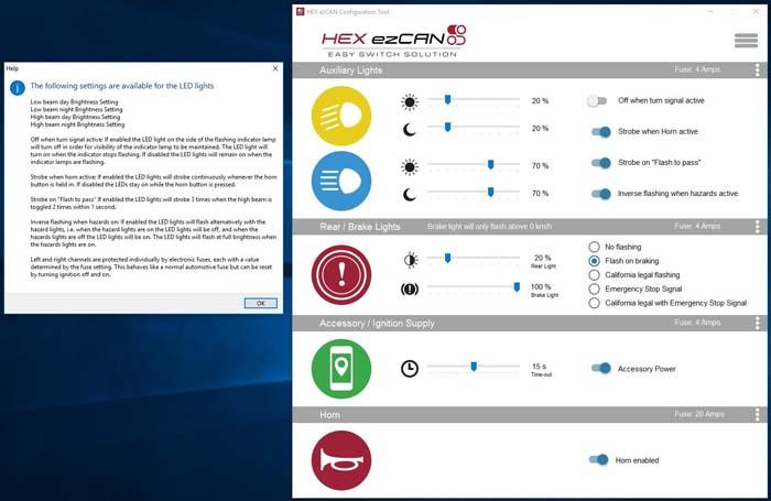 HEX ezCAN Software Orange Channel Info Screen