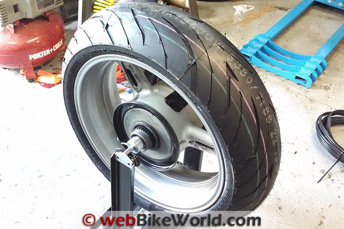 Shinko 016 Verge 2X Tires Rear on Balancer