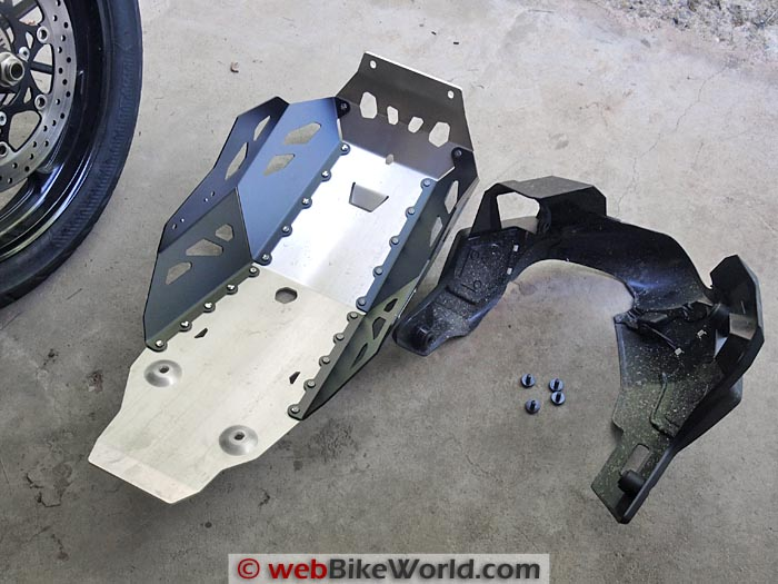 SW-Motech Skid Plate Engine Guard vs. Stock Suzuki Cover