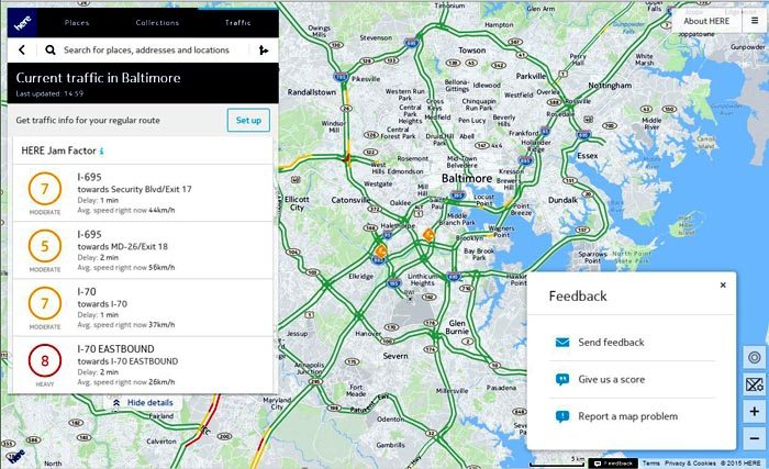Nokia HERE Real Time Traffic Reports