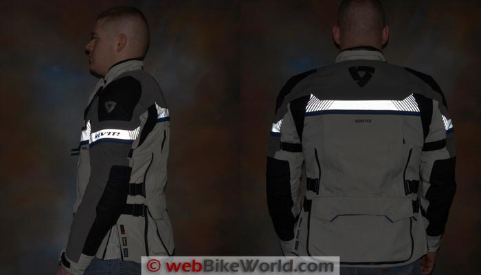 REV'IT! Dominator GTX Jacket Reflectivity Side Rear Views