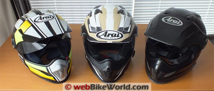 Three Generations of Arai XD Helmets
