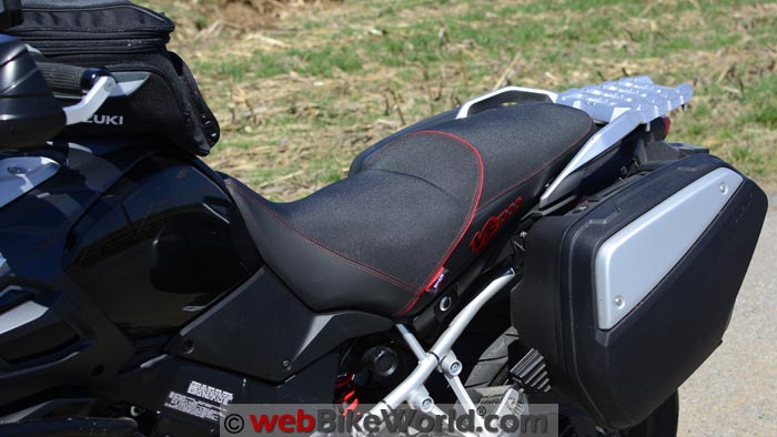SHAD Seat on Suzuki V-Strom 1000, Front Side View