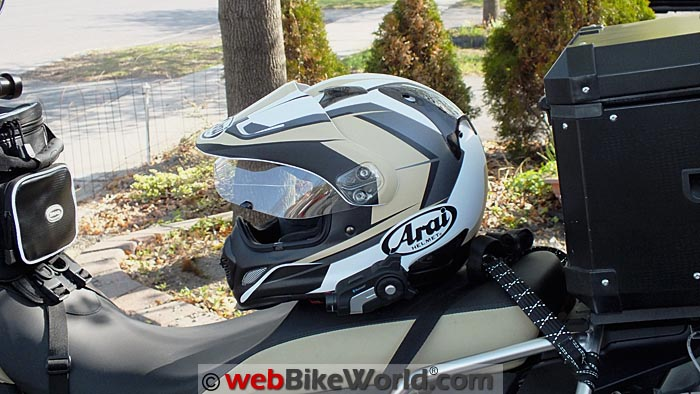 Sena 10C Mounted on Arai XD4 on Motorcycle