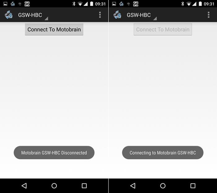 Motobrain App Connection Screen