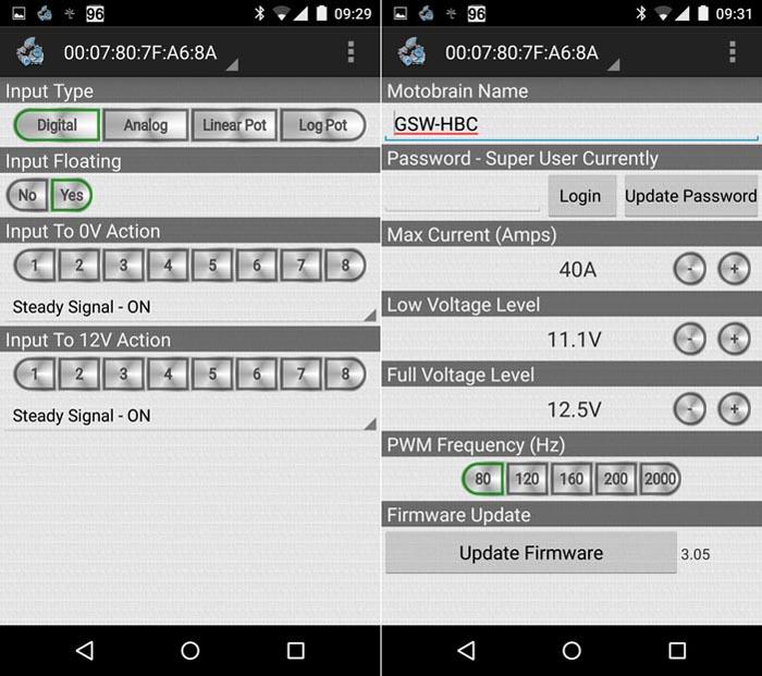 Motobrain Input Configuration and Firmware Update Screen