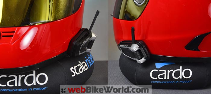 Cardo Packtalk on Helmet