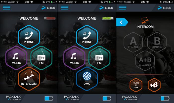 Cardo SmartSet App Screens