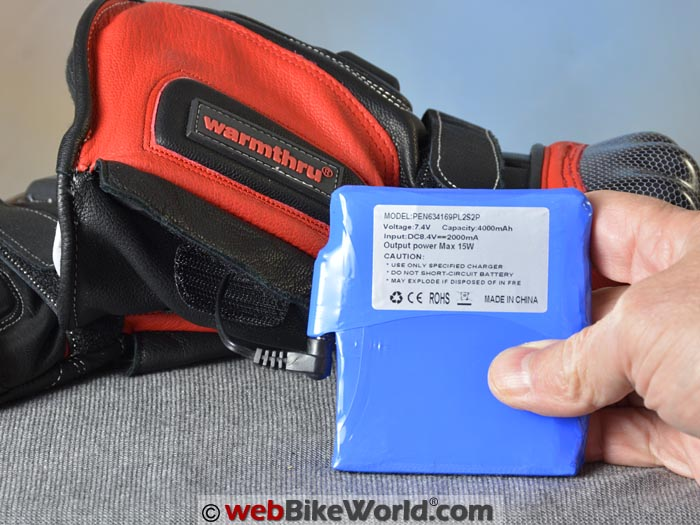 Warmthru Heated Motorcycle Gloves Battery Pack