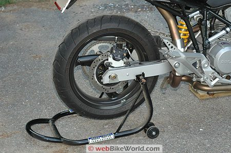 Ducati Multistrada Rear Swingarm Paddock Stand - Close-up