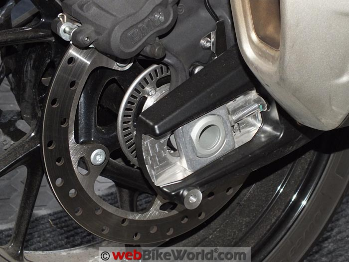 BMW S1000XR Before Swingarm Slider Installation
