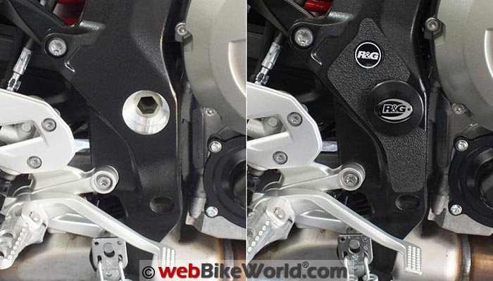 R&G Racing Boot Guard and Frame Plug Before After