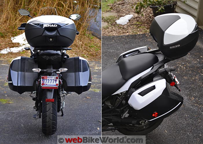 SHAD SH39 Top Case on Versys Rear View