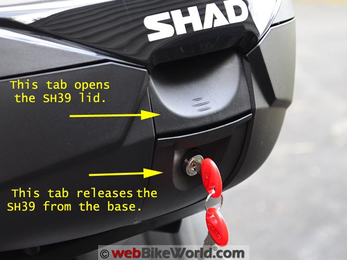 SHAD SH39 Bags Rear View With Keys