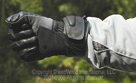 Motorcycle glove worn with gauntlet over sleeve
