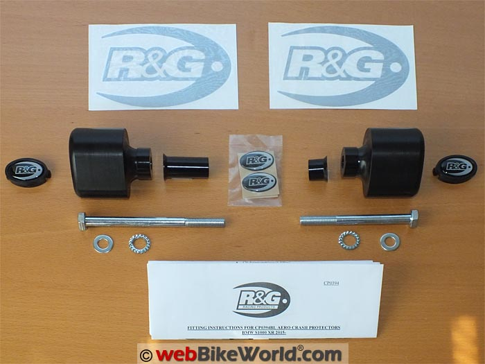 R&G Racing Aero Frame Sliders Kit Contents