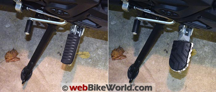 SW-Motech Wide Footpeg Replacement on Kawasaki Versys 650 Before After