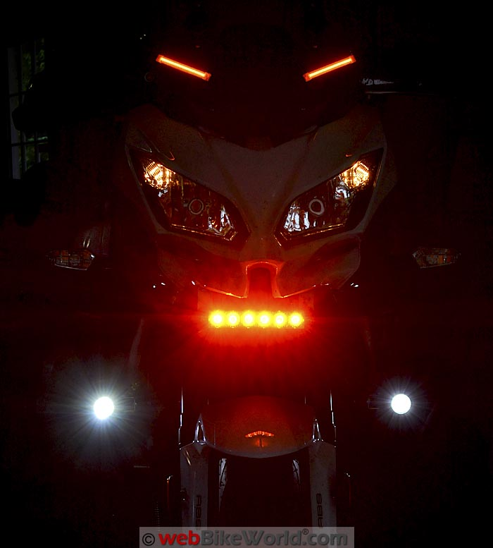 Kawell Amber LED Light Bar on Motorcycle