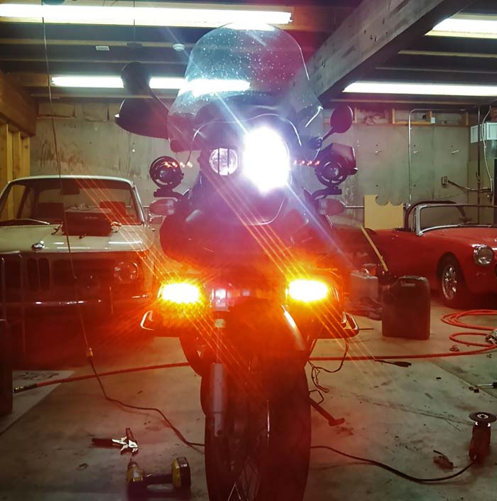 Kawell Amber LED Lights on BMW GS