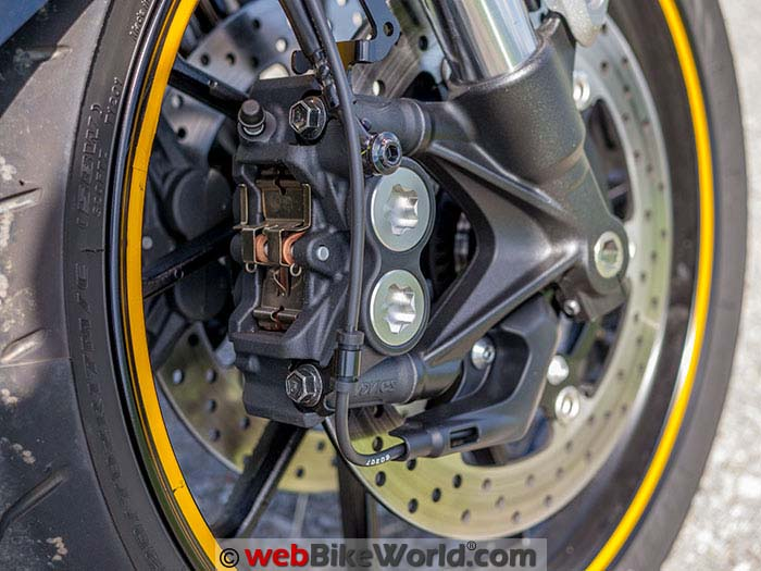 Yamaha XSR900 Front Wheel Brakes Close-up
