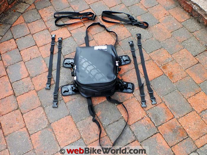 Touratech Waterproof Moto Tank Bag Mounted on Harness
