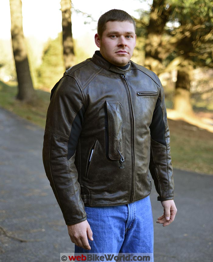 Helite Leather Airbag Jacket Front Quarter View