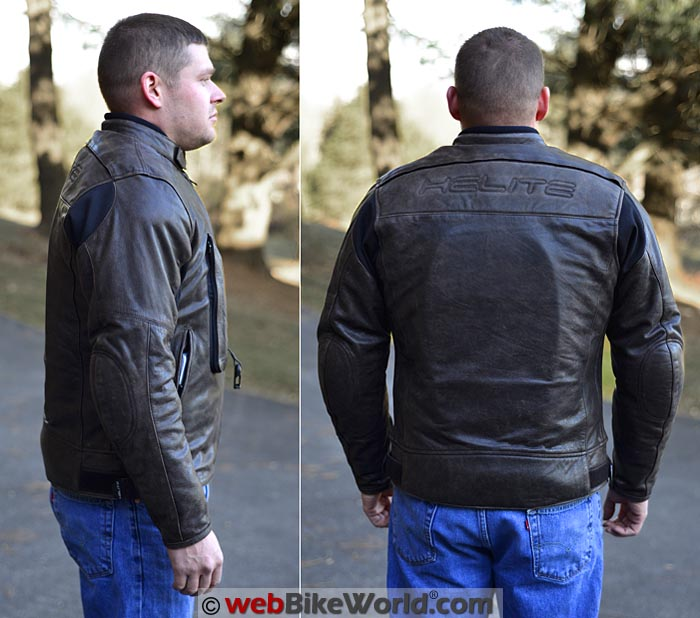 Helite Leather Airbag Jacket Side Rear Views