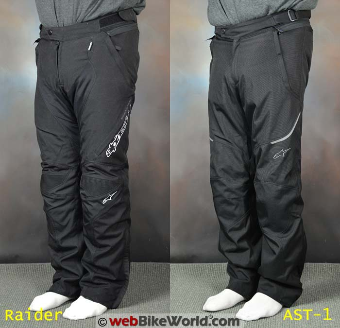 Alpinestars Raider vs. AST-1 Pants Front View