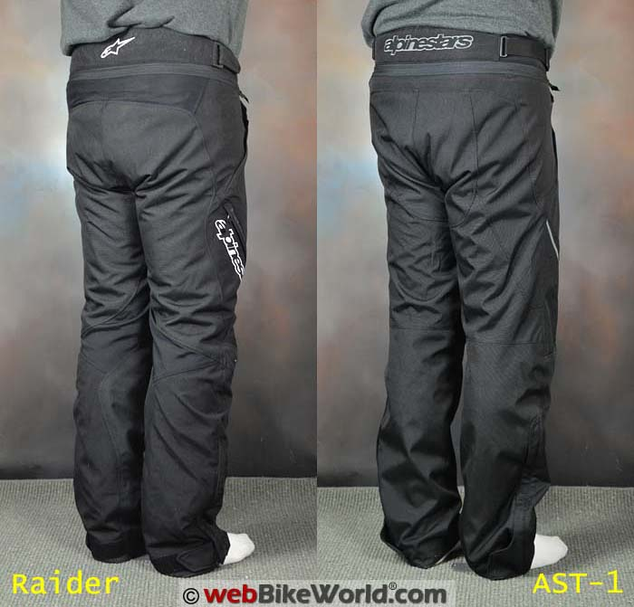 Alpinestars Raider vs. AST-1 Pants Rear View