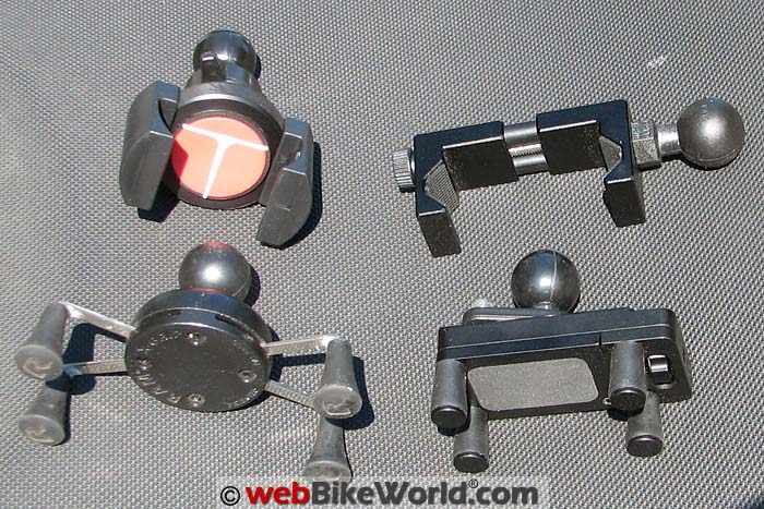 Four Motorcycle Phone Mounts Side View
