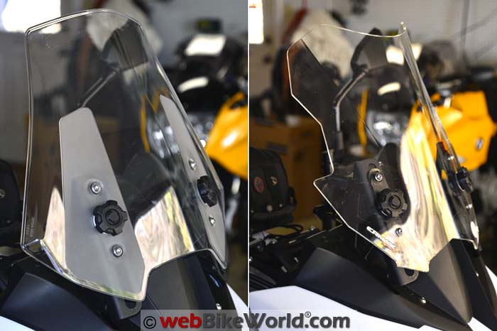 Stock vs. Ermax Windscreen Side View