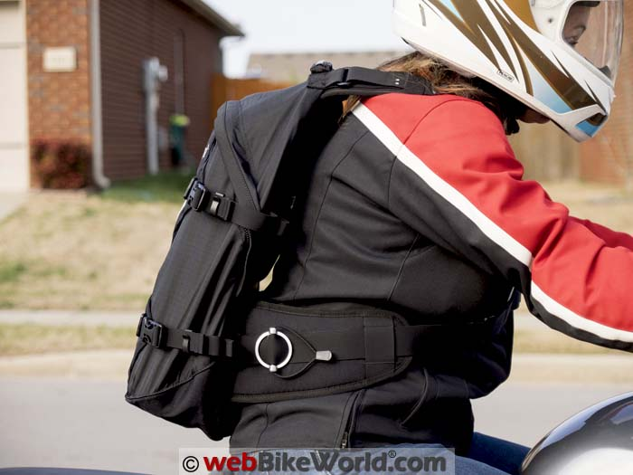Kriega R25 Backpack On the Motorcycle Side View