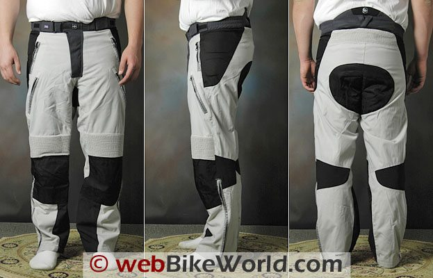British Motorcycle Gear Adventure Pants - Front, Side and Rear Views