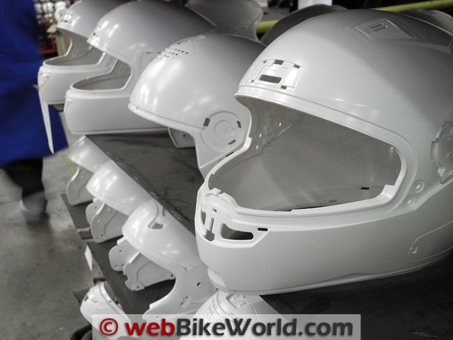 Helmet Shells Staged for Clearcoat