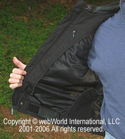 Men's vented leather motorcycle jacket, liner