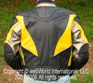 Men's vented leather motorcycle jacket, rear view - the Vortech Airflow Sportech Jacket by Olympia Moto Sports