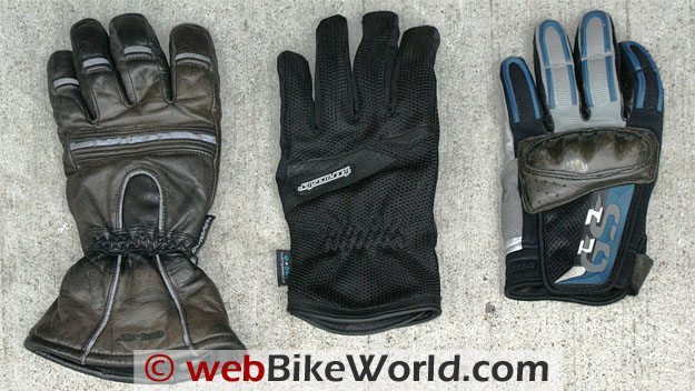 Gauntlet Comparison, L to R: Olympia Gore-Tex, Tour Master Dri-Mesh, BMW Rallye 2