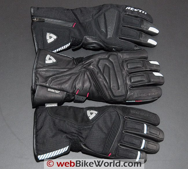 Rev'it Bastion GTX gloves, Alaska gloves and Orion GTX gloves (Center) and Bastion GTX gloves