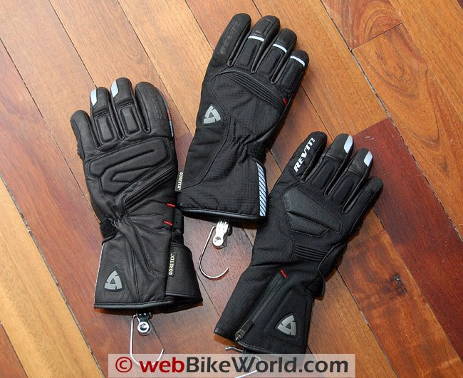 Rev'it Alaska gloves, Orion GTX gloves and Bastion GTX gloves