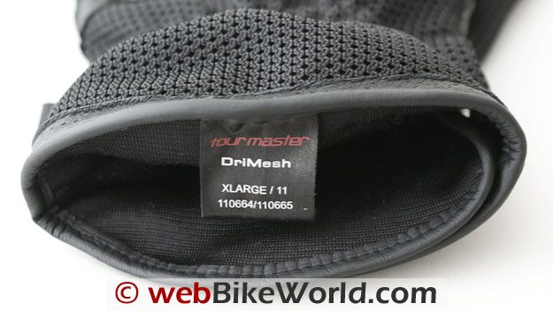 Tour Master Dri-Mesh Gloves - Close-up of Cuff