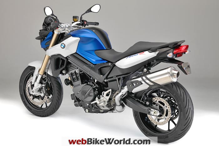 2015 BMW F 800 R Blue White Left Rear View