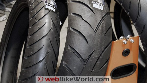 Avon Storm motorcycle tires.