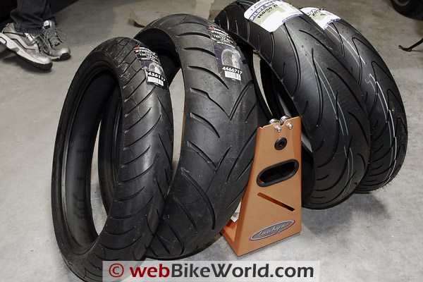 Avon Storm tires on the left; Michelin Pilot Road 2 on the right.