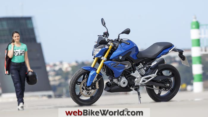 BMW G310R Blue Front Quarter View