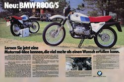 Original BMW R 80 G/S Advertisement