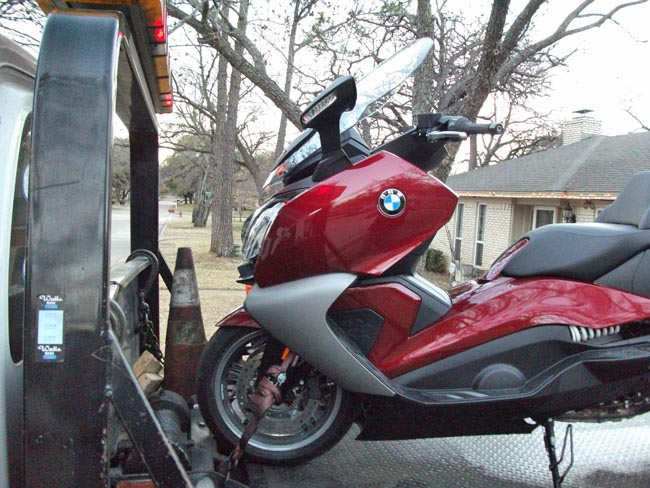 BMW Scooter on Two Truck Front