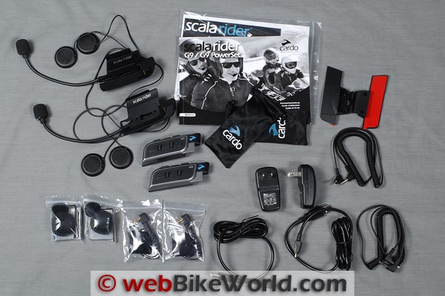 Cardo G9 PowerSet Kit Contents