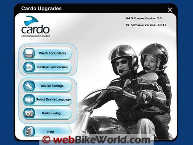 Cardo Scala Rider G4 Software Upgrade Version 3.0 - Main Menu Screen