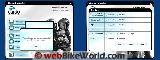 Cardo Scala Rider G4 Software Upgrade Version 3.0 Screens