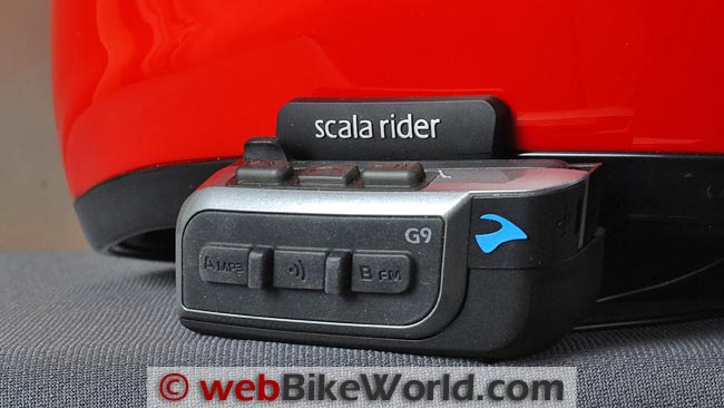 Cardo Scala Rider G9 on Helmet Close-up